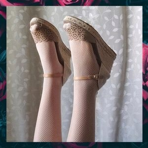 {Kanna}Tan Suede Cut Out Woven Espadrille Wedges